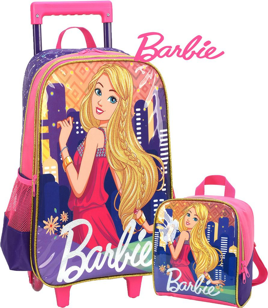 Kit Mochila Escolar Infantil Barbie Impermeável + Lancheira Térmica Costas Menina Feminina Rosa Original Luxcel