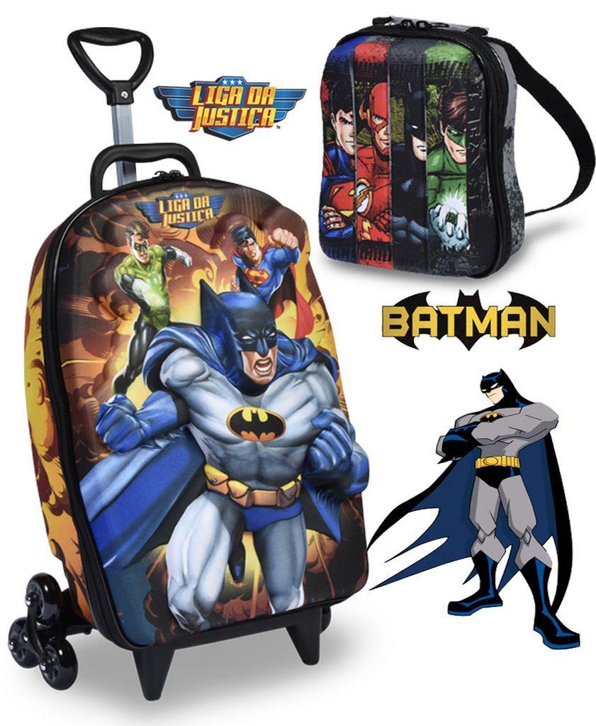 Kit Mochila Escolar Infantil Carrinho Rodinha Liga Da Justiça Batman Com Lancheira Maxtoy