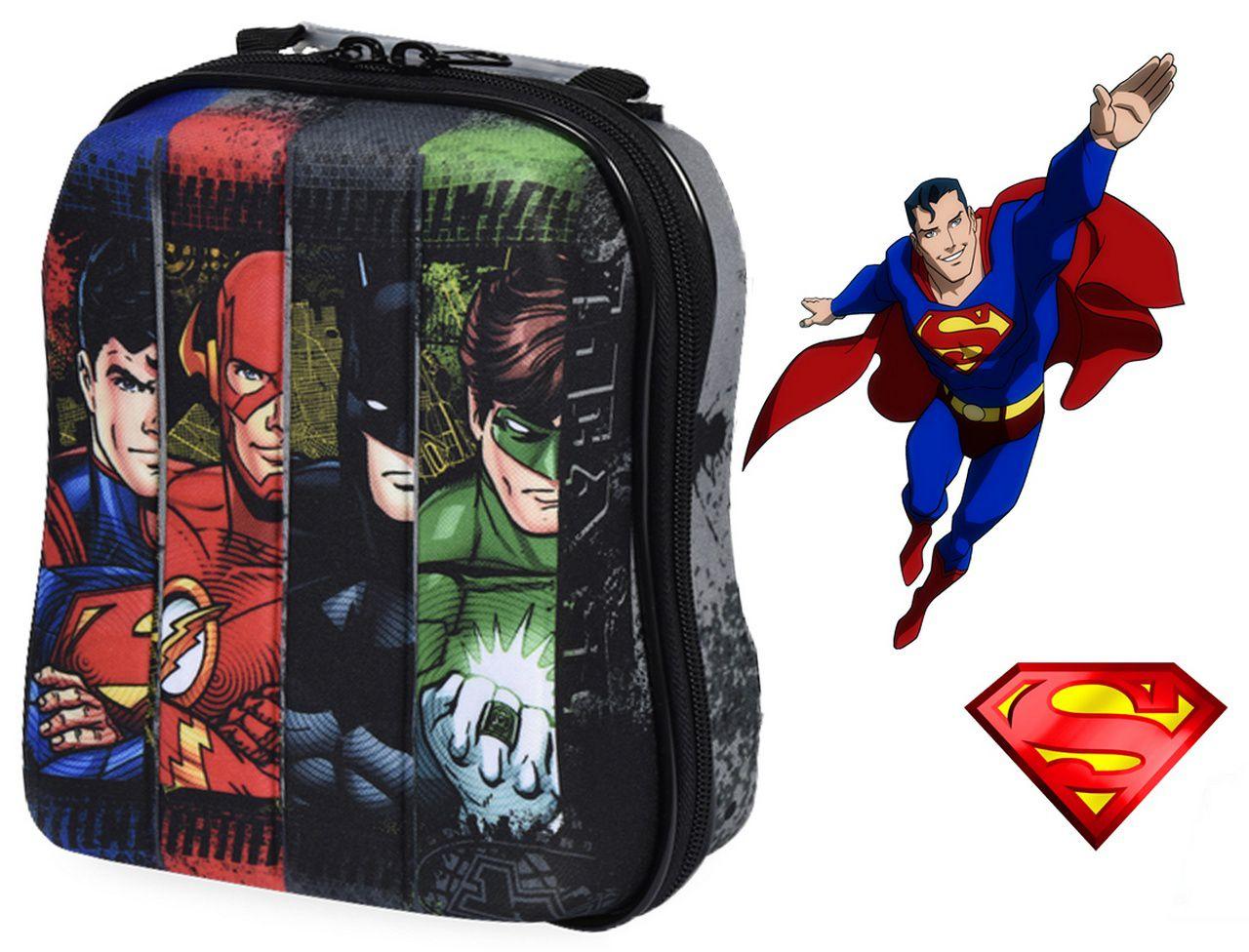 Kit Mochila Escolar Infantil Carrinho Rodinha Liga Da Justiça Superman Com Lancheira Maxtoy