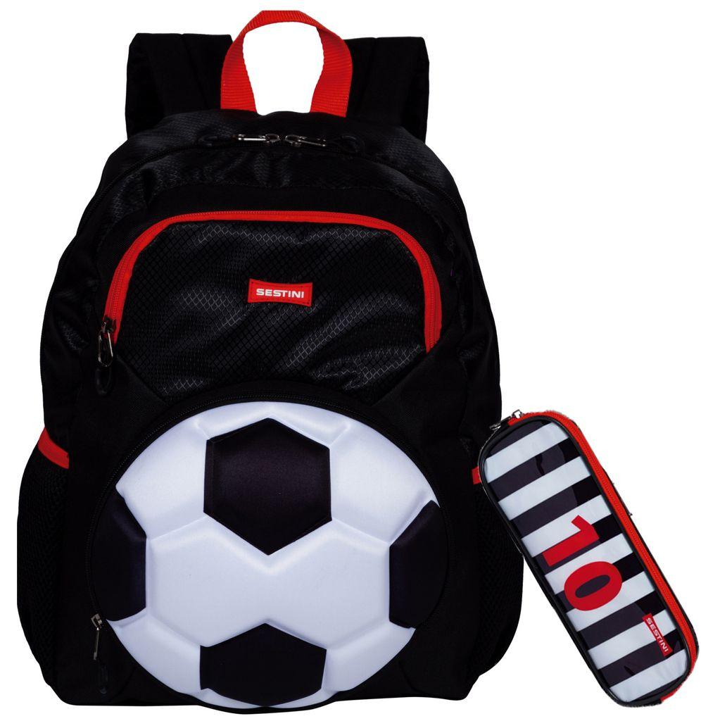 Kit Mochila Escolar Infantil Costas Futebol Impermeável Grande Menino Bola Estojo Duplo