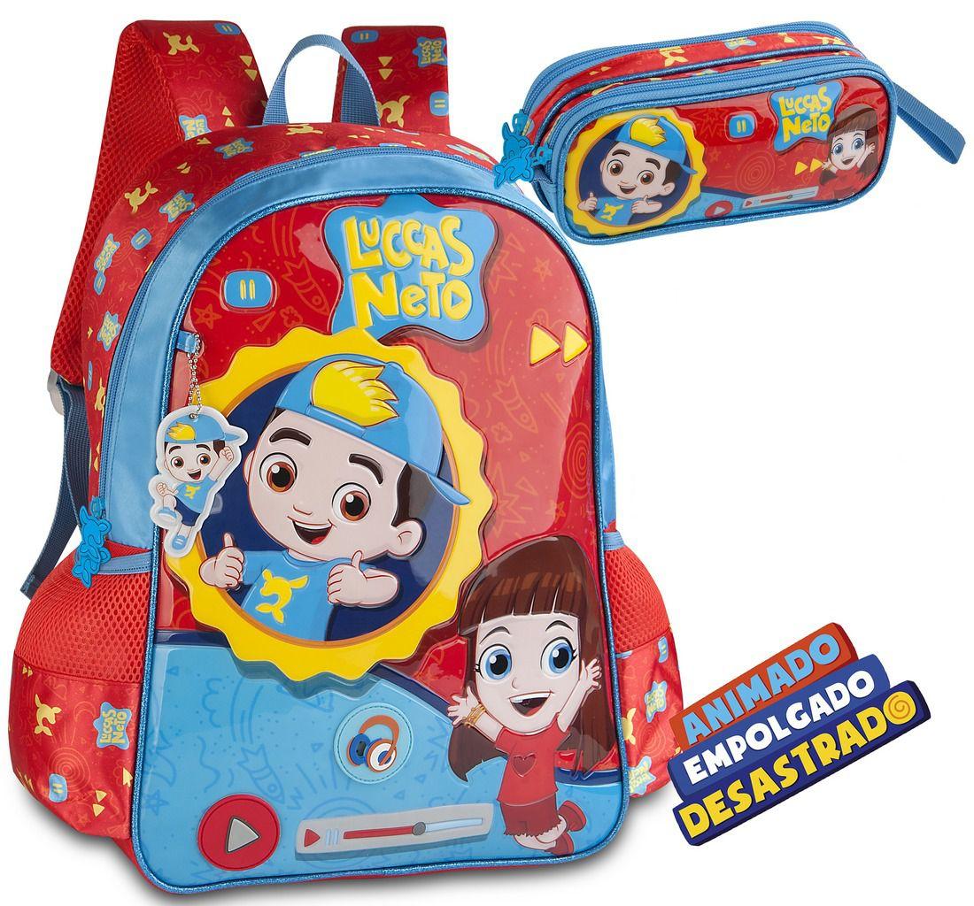 Kit Mochila Escolar Infantil Luccas Neto Grande Costas Gi Aventureira Emite Som + Estojo 2 Compartimentos Menino Menina Clio