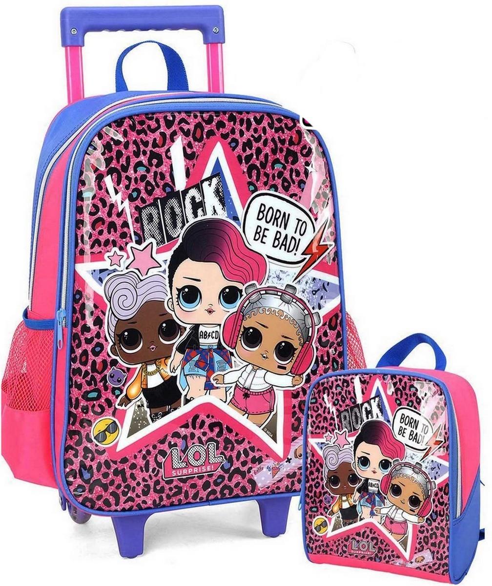 Kit Mochila  Escolar Infantil Menina  LOL Surprise Rodinha Carrinho Rock Oncinha Pink Com Lancheira Térmica Luxcel
