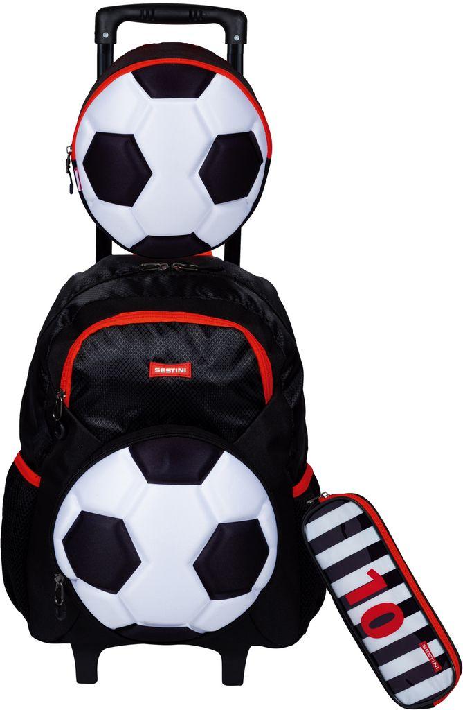 Kit Mochila Escolar Infantil Menino Futebol Rodinha + Lancheira Térmica Pote Garrafa + Estojo Duplo Impermeável