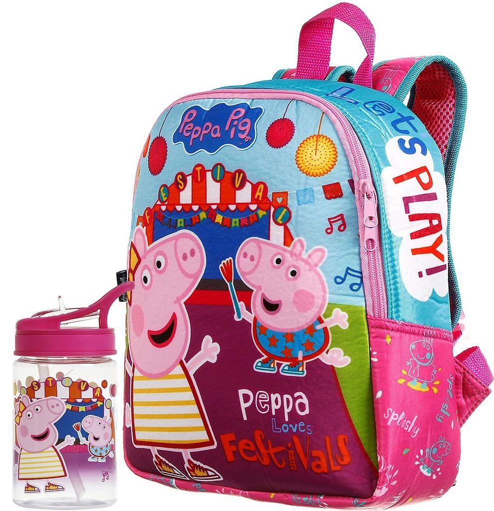 Kit Mochila Escolar Infantil Peppa Pig Festival Média Rosa Costas Menina + Garrafinha 350ml Decorada Vedada Acrílica Resistente Lançamento Dermiwil