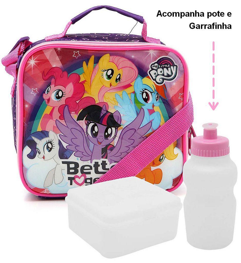 Kit Mochila Escolar Infantil Rodinha Carrinho My Little Pony + Lancheira + Estojo DMW