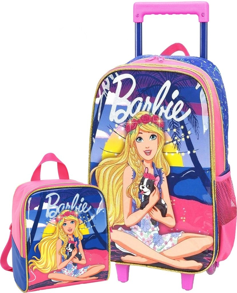 Kit Mochila Escolar  Menina Feminina Infantil Barbie Impermeável + Lancheira Térmica Costas Rosa Azul Original Luxcel
