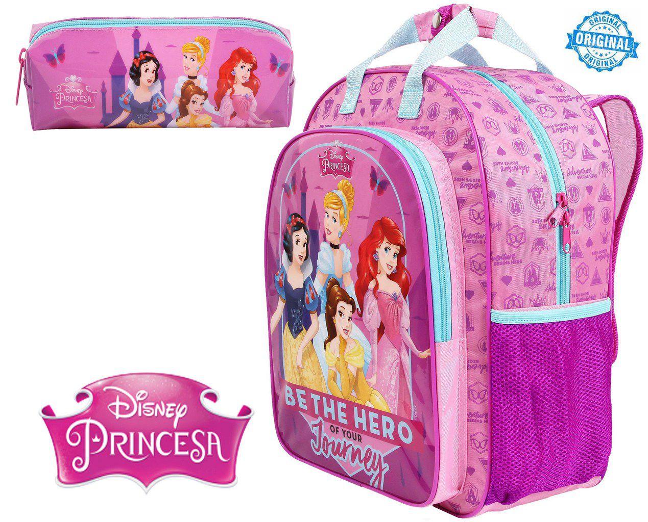 24d8b3d9e Kit Mochila Escolar Princesas Infantil Menina Resistente Costas Rosa +  Estojo Dermiwil - Ditudotem ...