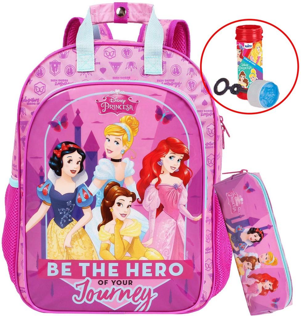 Kit Mochila Escolar Princesas Infantil Menina Bolhas De Sabão Resistente Costas Rosa + Estojo Dermiwil