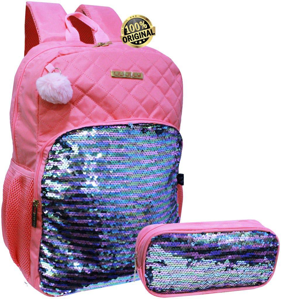 Kit Mochila Feminina Juvenil Escolar Paetê Muda De Dor Impermeável Rosa Resistente Chaveiro Pompom + Estojo Simples 1 Compartimento Lili July Santino