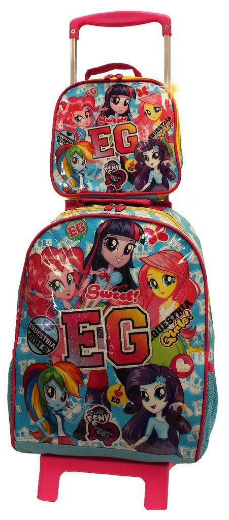 Kit Mochila G Escolar Infantil Carrinho + Lancheira Térmica  Equestria Girls