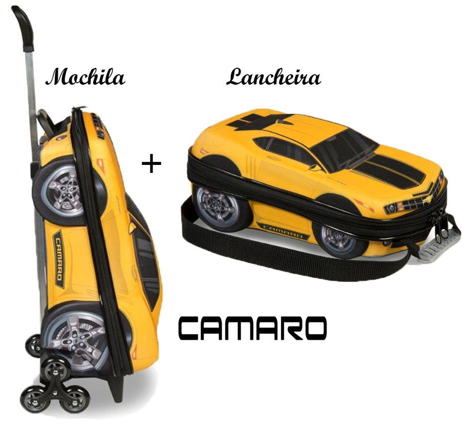 Kit Mochila Infantil Escolar Rodinhas Carrinho Camaro Amarelo Com Lancheira Maxtoy