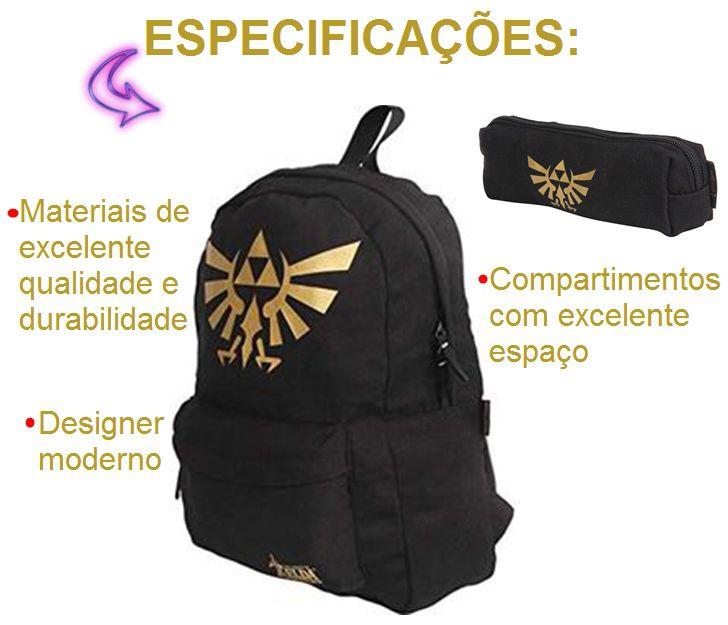 Kit Mochila Preta Juvenil Escolar + Estojo Nintendo Zelda