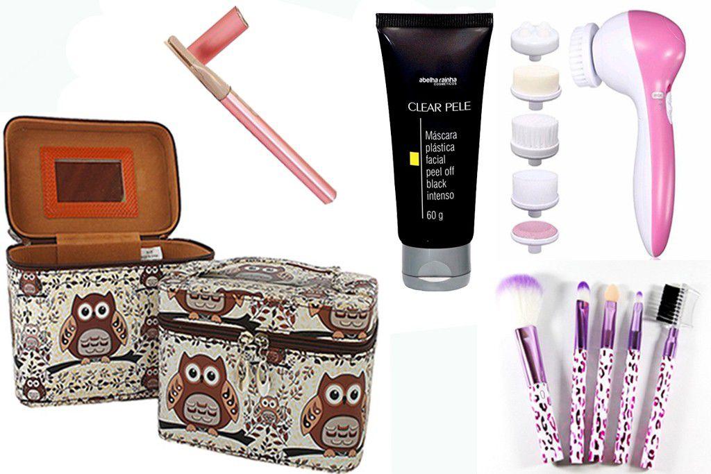 Kit Necesser + Pinceis + Massageador Fácil + Mini Depilador de Sobrancelha + Mascara Black