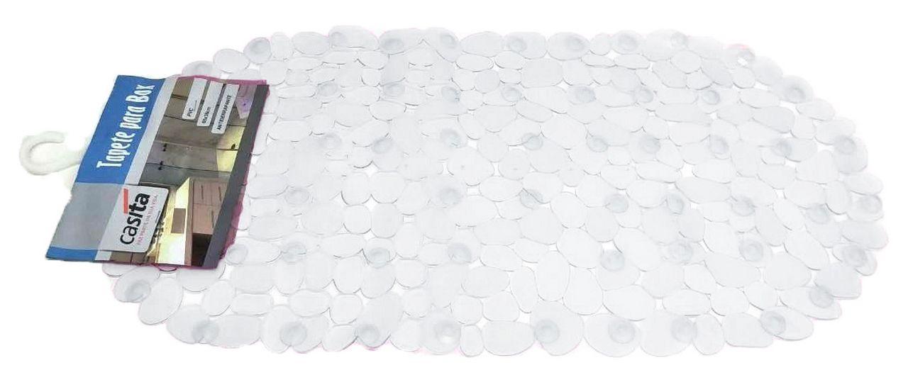 Kit Para Banheiro Preto 4 Peças Em Plástico + Tapete Para Box PVC Antiderrapante Transparente