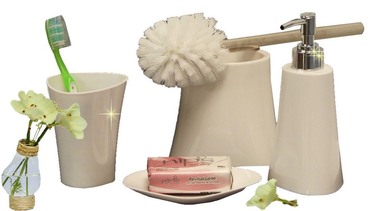 Kit Para Banheiro Preto Branco 4 Peças Em Plástico