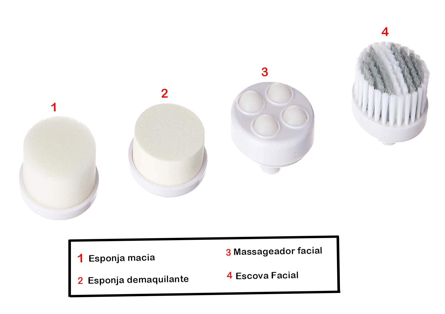 Kit Spa Escova Facial Massageador 4 em 1 Limpeza Profunda Multilaser