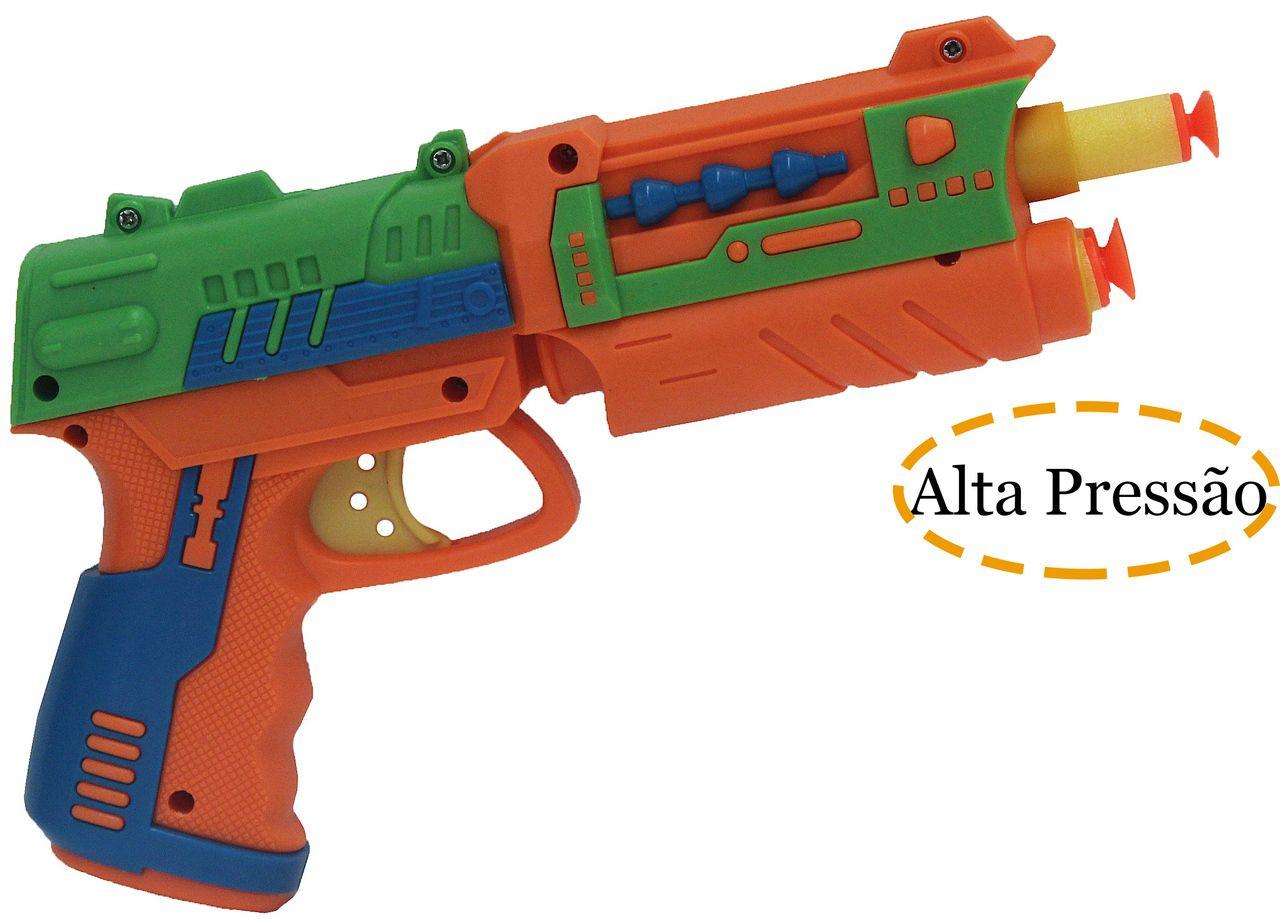 Lança Dardos Alvo Divertido Infantil Arminha Menino Laranja  Airogun +3 Anos VB174 Original Vip Toys