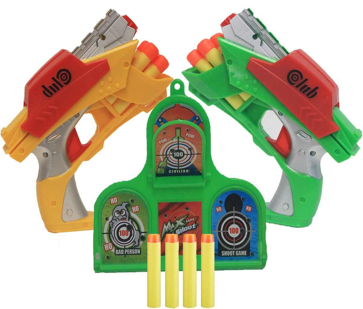 Lança Dardos Alvo Divertido Infantil Menino Amarelo Verde Club Max Game Shoot +3 Anos VB173 Original Vip Toys