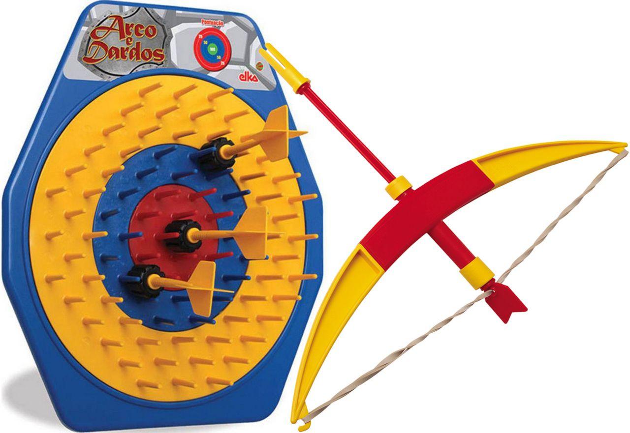 Lançador Arco E Dardos Infantil Meninos Divertido Mira Alvos Brinquedo Lançamento Elka Novo
