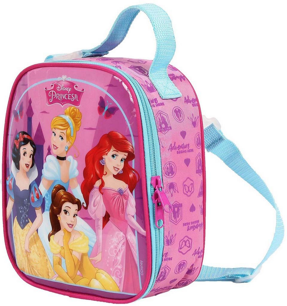 Lancheira Escolar Princesas Infantil Menina Resistente Térmica Rosa Dermiwil