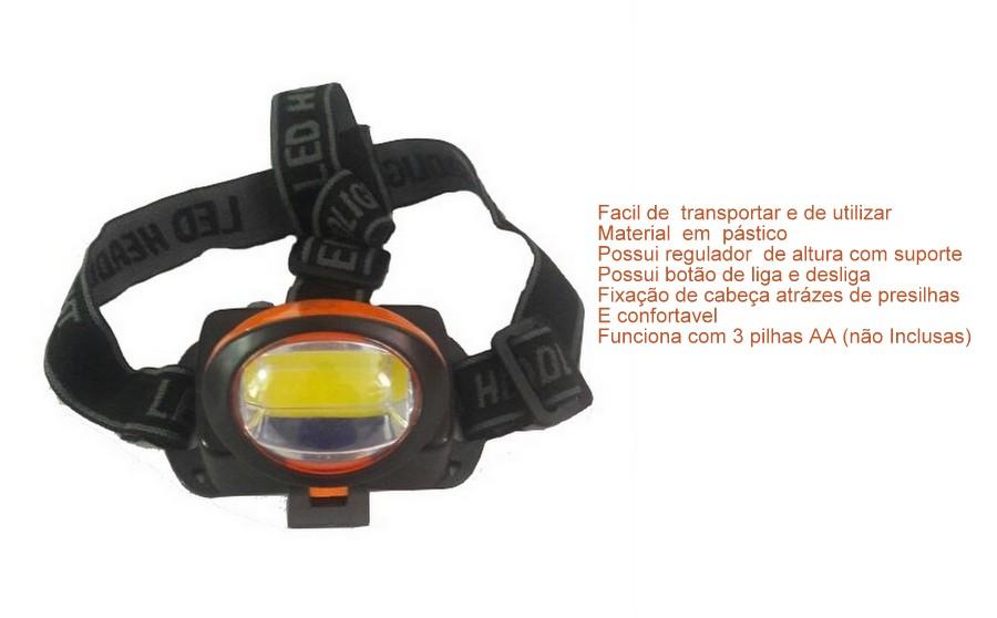 Lanterna De Cabeça Led Regulável 3W Farol Bike Camping Pesca Caça  Trilha