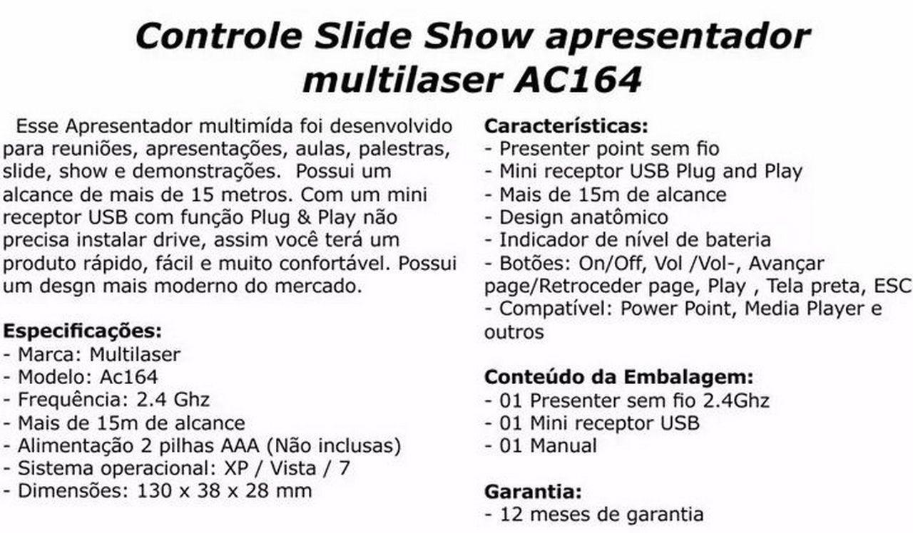 Laser Point Apresentador De Slides Wireless Ac164 Multilaser