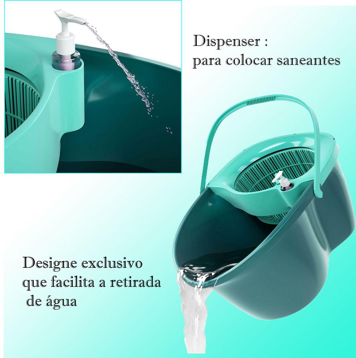 Mop Limpador Microfibra Flash Limp Giratório Odyssey Fit 360° Burrifador Balde Esfregão 1,28m Aço Inox 8 Litros Design Exclusivo Puxador Dispenser Limpeza Multiuso