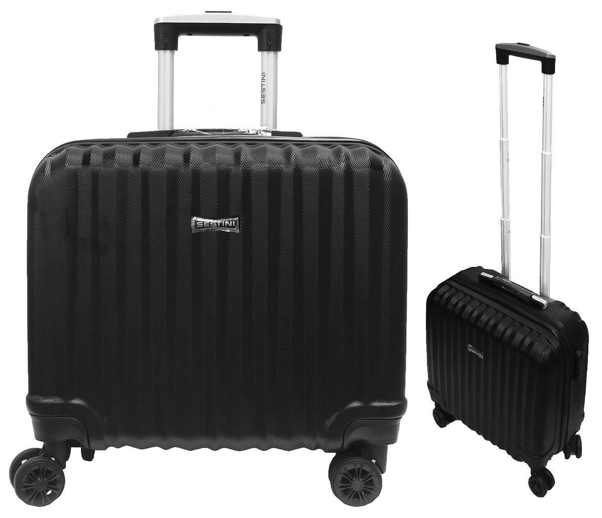 Mala De Viagem Pequena Executivo Laptop Notebook ABS Preta Rodinhas 360