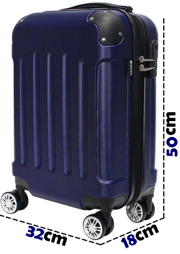 Mala Bordo Viagem Pequena Abs Rígida 4 Rodinhas 360º Resistente Azul C616 Hinza 18'' Original ANAC