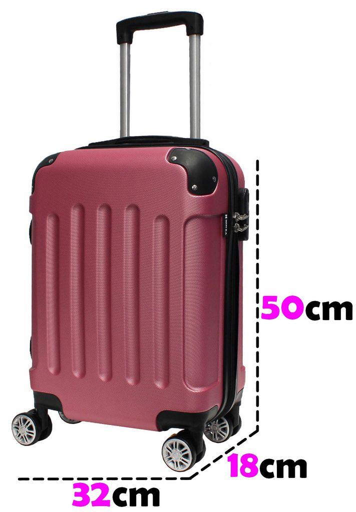 Mala Bordo Viagem Pequena Abs Rígida 4 Rodinhas 360º Resistente Rosa C616 Hinza 18'' Original ANAC