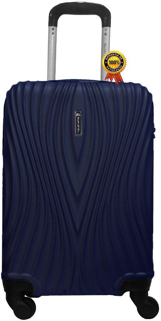 Mala De Bordo Viagem Abs Rígida Pequena 4 Rodinhas Giratórias 360º Cadeado Fixo Senha Azul Escuro Novas Medidas ANAC Polo King Luxcel