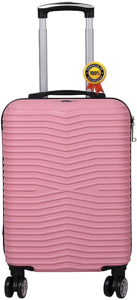 Mala De Viagem Abs Rígida Pequena 4 Rodinhas Giratórias Cadeado Fixo TSA Rosa Resistente Feminina Lançamento Santino
