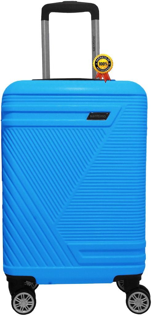 Mala De Viagem Pequena Abs Rígida 4 Rodinhas Giratórias 360° Cadeado Fixo Senha Azul Resistente Lançamento Santino