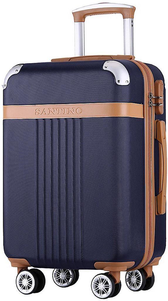 Mala Viagem Pequena ABS Rígida 4 Rodinhas 360° Cadeado Senha Resistente Azul Escuro Original Santino