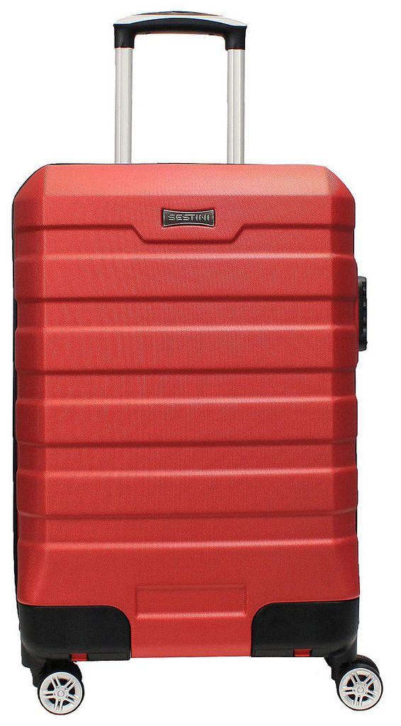 Mala De Bordo Viagem Pequena Abs Rígida 4 Rodinhas Retráteis 360° Vermelha Cadeado Senha Resistente Original Sestini