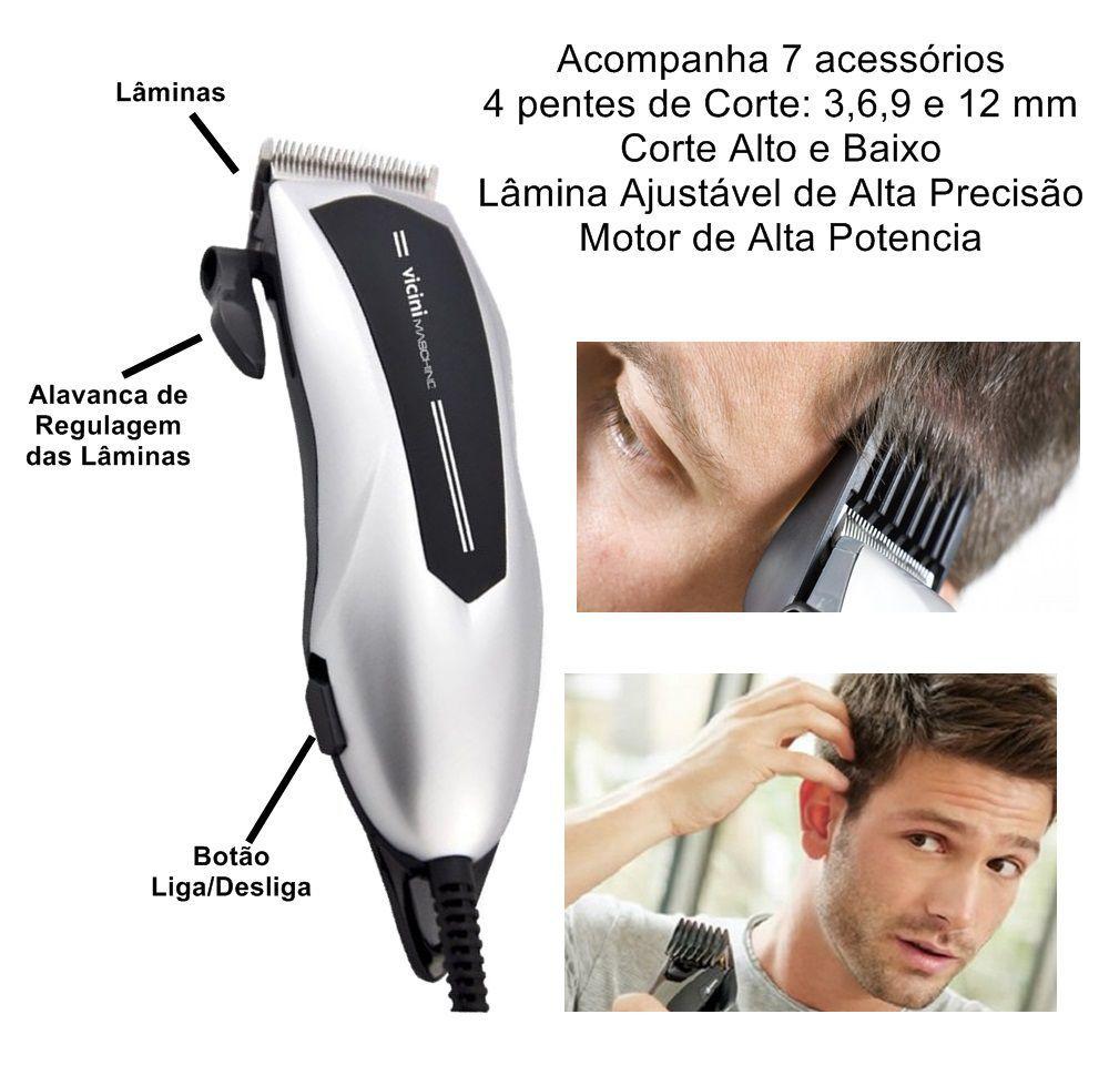 Maquina Cortar Cabelo Barba Profissional Acessórios 9 Peças Vicini - CPV-625