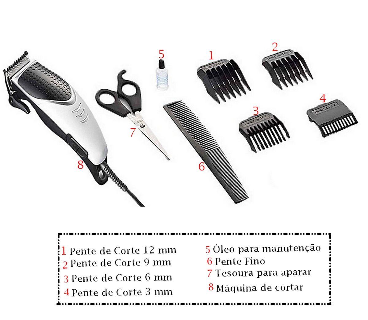 Máquina De Cortar Cabelo Masculina  127V Men Care Multilaser Barba Bigode 4 Em 1 12W Original