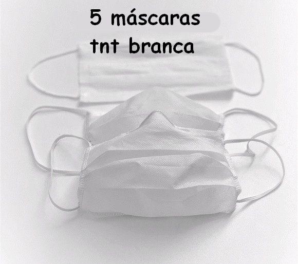 Máscara De Proteção Facial Viseira Proteção Transparente + 5 Máscaras Brancas Tnt Duplo Lavável Com Elástico