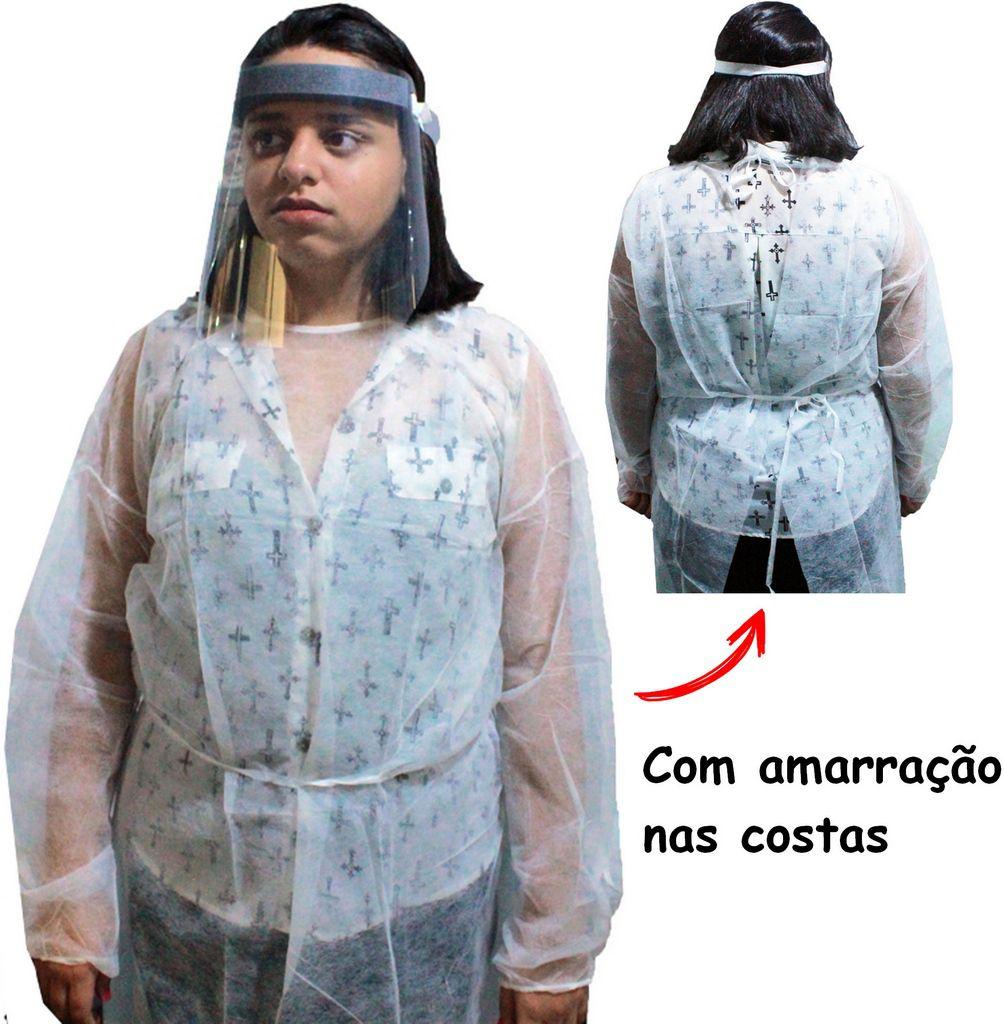 Máscara De Proteção Facial Viseira Proteção Transparente Elástico + Avental Descartável Polipropileno + 5 Pares De Luvas Vinil Branca-09 Pó Tam G