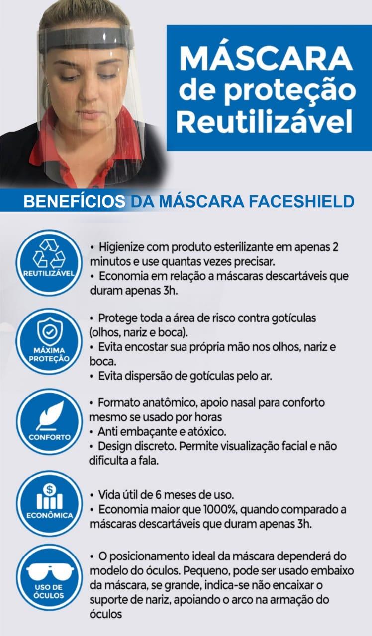 Máscara De Proteção Facial Viseira Transparente Respingo Com Elástico + Álcool Gel 500 Ml