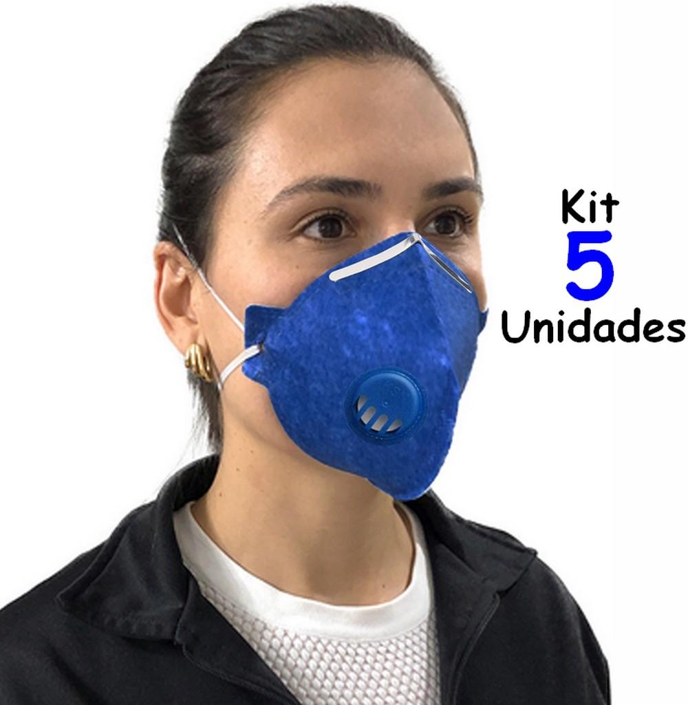 Mascara N95 Descartavel De Proteção Facial 5 Unidades Com Valvula Filtro Respirador Ajustável Segurança Clipe Nasal Inmetro KSN