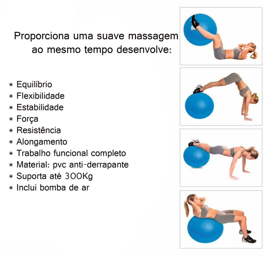 Massage Ball Bola De Pilates Yoga Relaxamento Com Bomba Anti-derrapante Alongamento Ginástica Coordenação Alongamento Fitness Acte