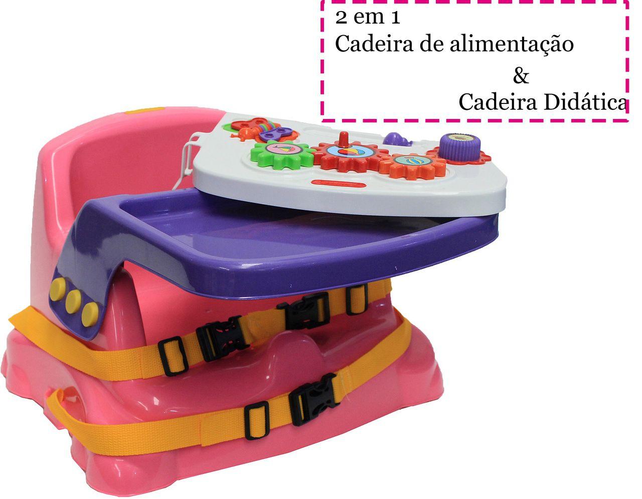 Cadeirinha Mesinha Didática Infantil Rosa Educativa Cinto Mais Proteção Divertido Criança Original Poliplac