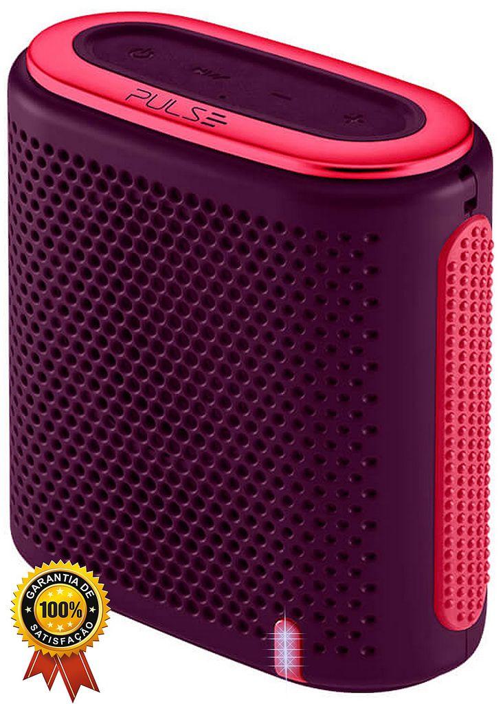 Mini Caixa De Som Bluetooth Cartão SD Entrada P2Pulse Portátil Bateria Recarregável Acústica Pequena Roxa Rosa 10W RMS Multilaser Original