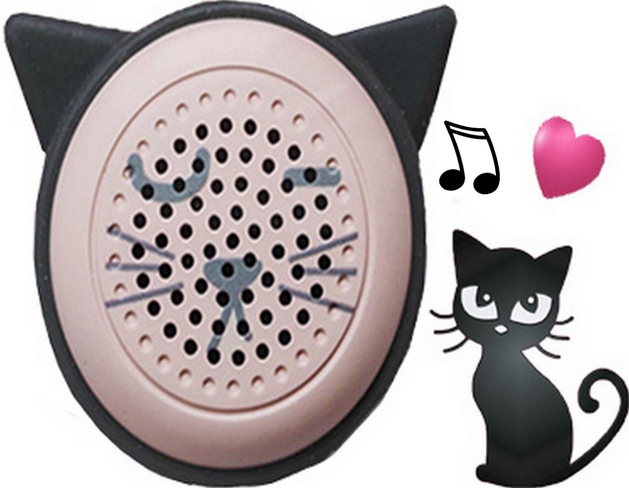 Mini Caixa De Som Bluetooth Chaveiro Rosa Chá Up4you Moderna Gatinha Com Disparador De Selfie