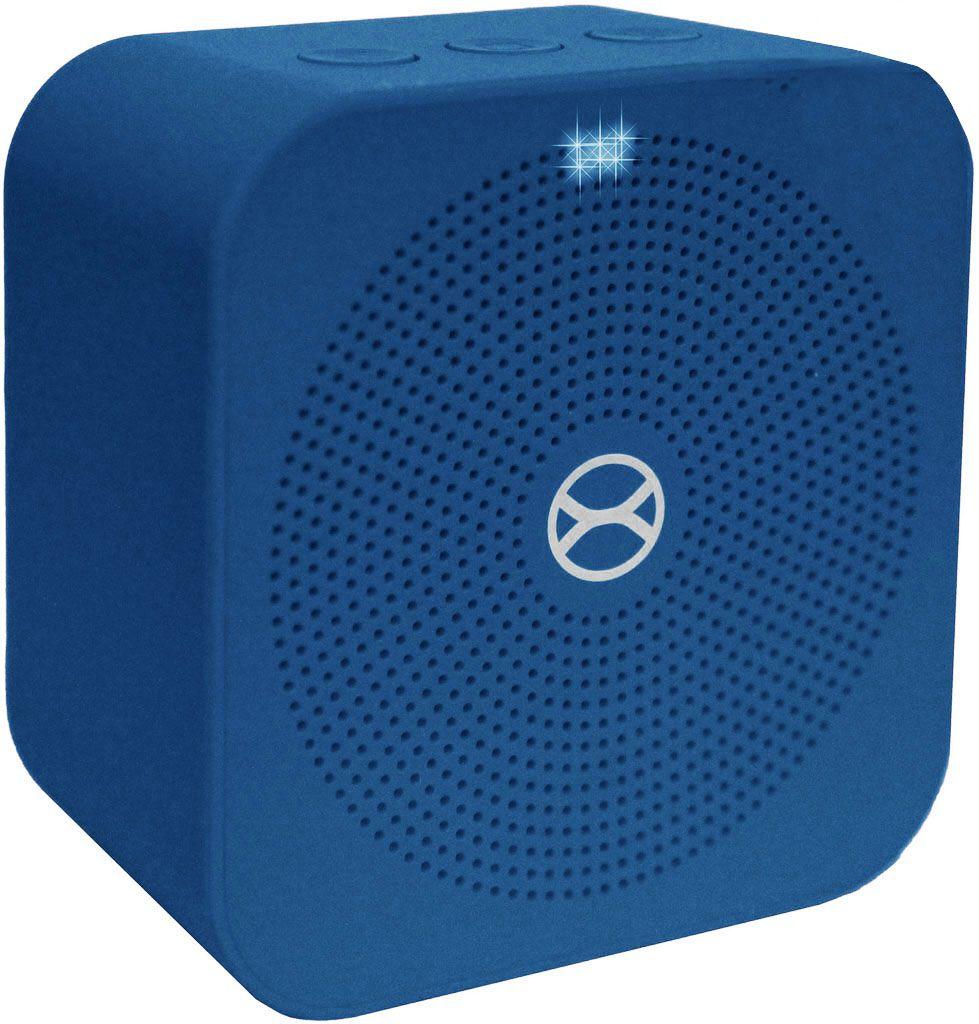 Mini Caixa De Som Bluetooth Portátil Bateria Recarregável 5W Azul Pequena Entrada Cartão TF Auxiliar Moderna Atende Ligação Xtrax Pocket