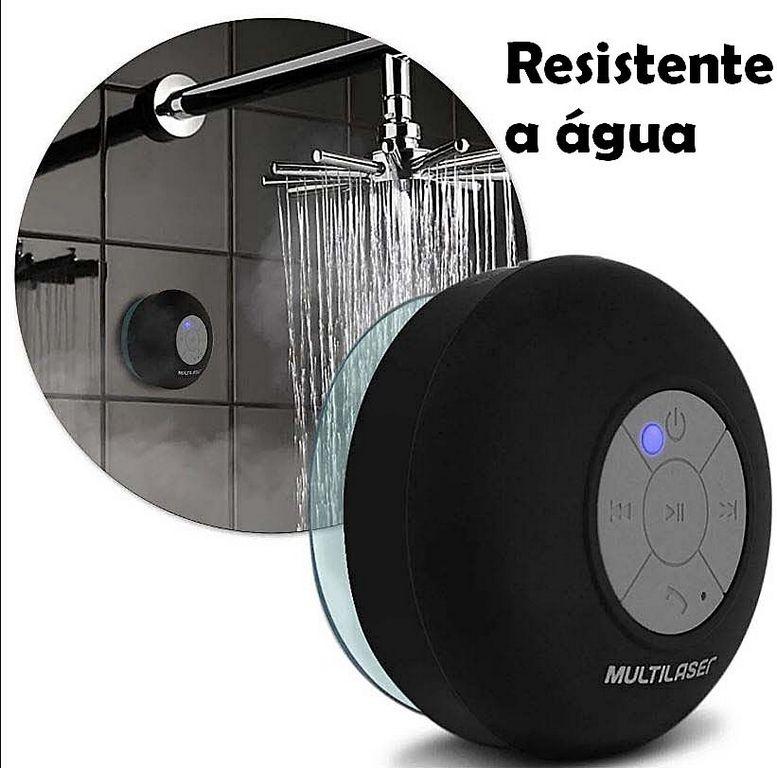 Mini Caixa De Som Bluetooth Portátil Resistente A Água Bateria Recarregável Ventosa 8W RMS Preta Pequena Multilaser Shower Original