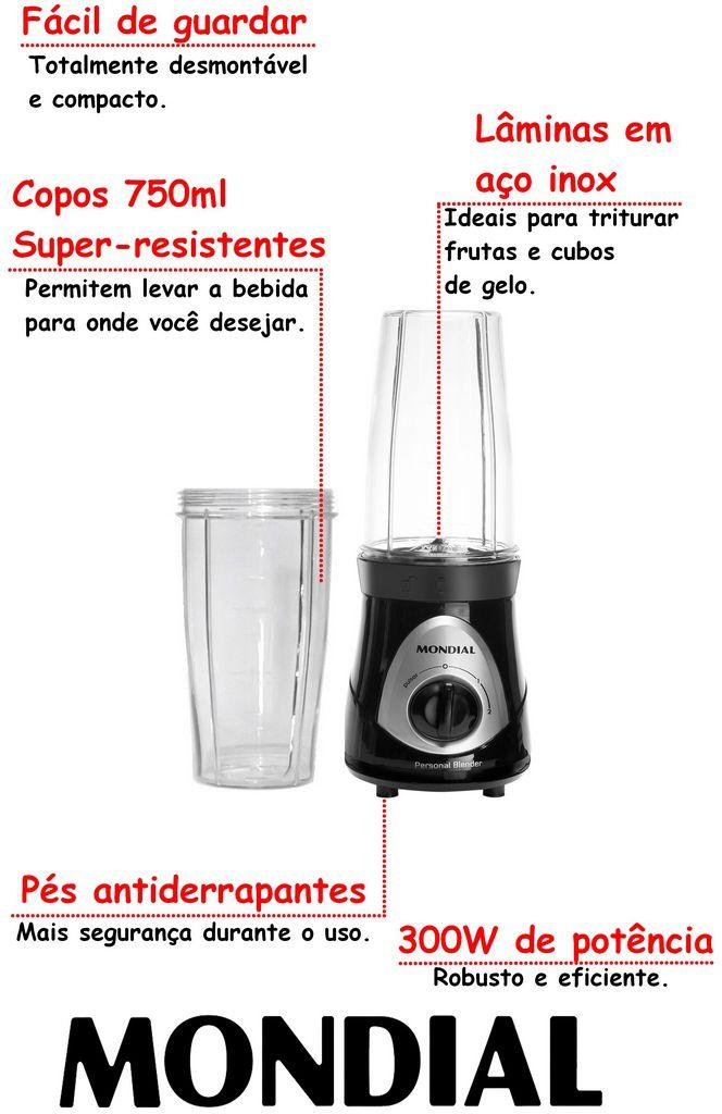 Mini Liquidificador Portátil Individual Personal Blender 110V 300 Watts Shakes Vitaminas Sucos 2 Squeezes Copos 750ml 4 Lâminas Em Aço Inox Mondial