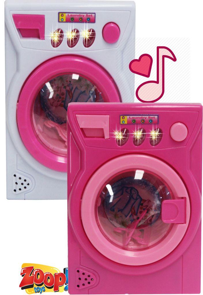 Mini Máquina De Lavar Eletrônica Musical 2 Cabides Acende Luz Lavadora Infantil Menina Rosa Branca Modelo ZP00248 Original Zoop Toys