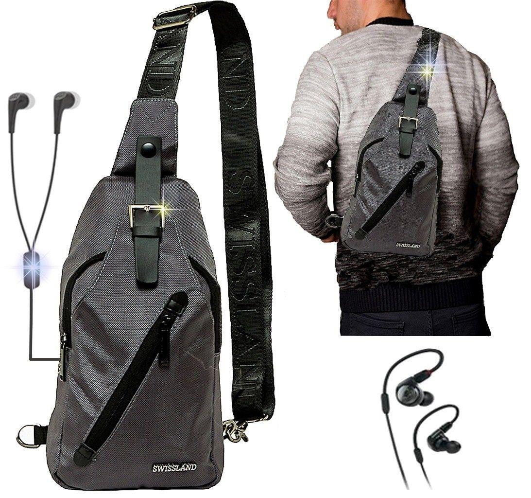 0b6c79949 Mini Mochila masculina Esportiva Resistente Transversal Entrada Fone de  Ouvido + Fone De Ouvido